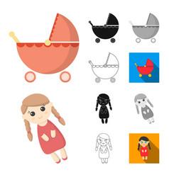 Children toy cartoonblackflatmonochromeoutline vector