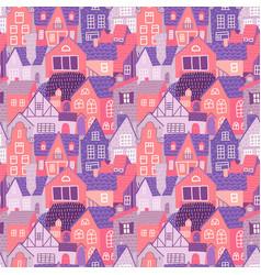 city seamless colorful pattern with hand drawn old vector image