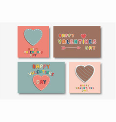 collection of cute happy valentines day vector image