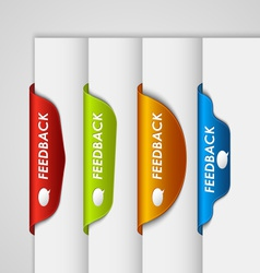 Color label bookmark feedback on the edge of web vector image