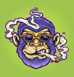 cool monkey stoner cannabis smoking vector image