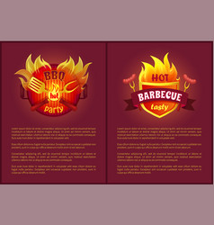 Crossed spatula and paddle on burning barbeque vector