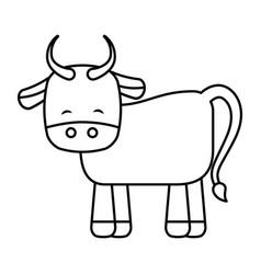 Cute ox manger character vector