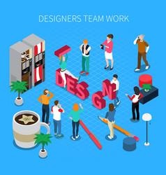 designers teamwork isometric concept vector image