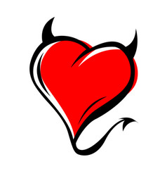 Devil red heart with horns on white background vector