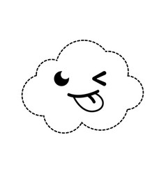 Dotted shape funny and cute cloud kawaii weather vector