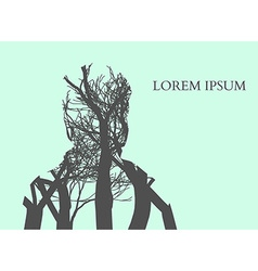Double exposure Man Silhouette and tree Double vector image
