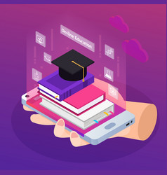 e-learning isometric composition vector image