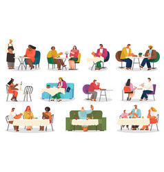 Eating out isolated characters cafe or restaurant vector