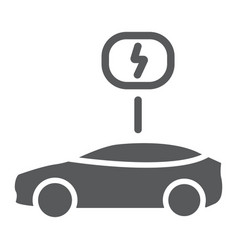 eco car glyph icon ecology and vehicle transport vector image