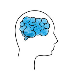 Edge mental health person with brain vector
