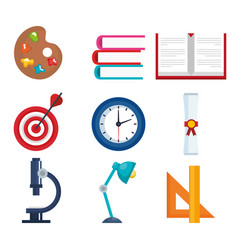 Education supplies set icons vector