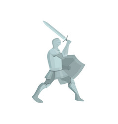 figure of a knight in gray armor with shield and vector image