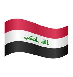 flag of iraq waving on white background vector image