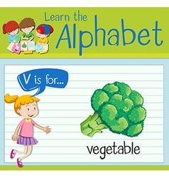 Flashcard letter V is for vegetable vector image