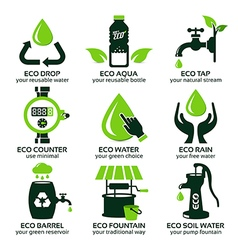 Flat icon set for green eco water vector