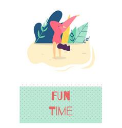 Fun time outdoors recreation motivate flat card vector