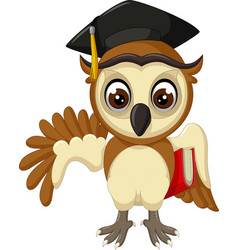 funny brown owl wearing black hat with red book vector image