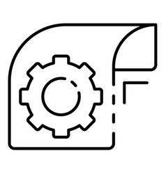 gear paper icon outline style vector image