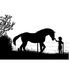 girl and horse vector image