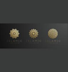 Gold islamic logo set on dark background ramadan vector
