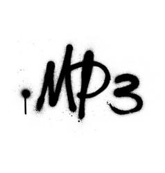 Graffiti mp3 abrreviation sprayed in black vector