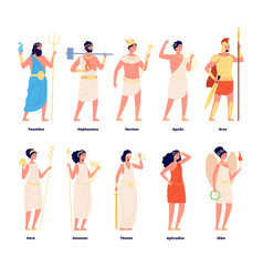 Greek mythology olympian gods goddess roman vector