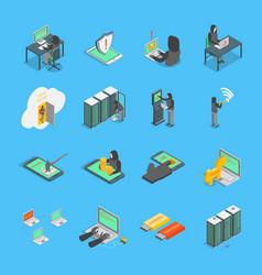 hacker signs 3d icons set isometric view vector image