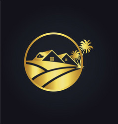 Home palm tree icon gold logo vector