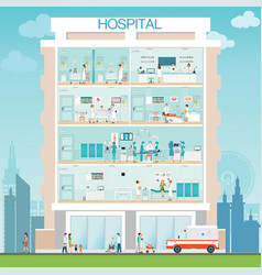 Hospital building exterior with doctor and patient vector