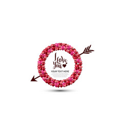 I love you with love circle and arrow on white vector