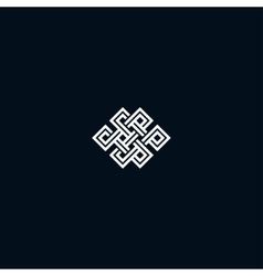 Infinite knot symbol on black vector