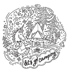 Lets go camping unicorn vector