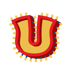 letter u lamp glowing font vintage light bulb vector image
