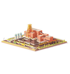 low poly coal mine vector image