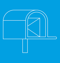 mailbox with mail icon outline style vector image