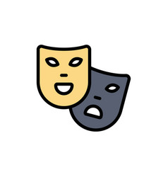Masks roles theater madrigal flat color icon icon vector