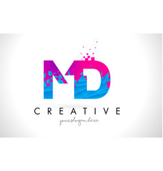 md m d letter logo with shattered broken blue vector image
