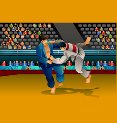 Men doing judo in competition vector