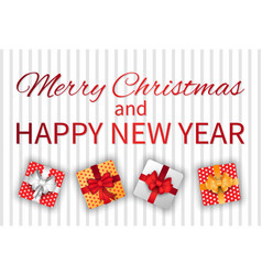 merry christmas and happy new year box with gift vector image