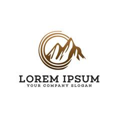 mountain sun logo design concept template vector image