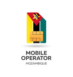 Mozambique mobile operator sim card with flag vector