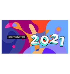 New year 2021 colorful fluid banner design vector