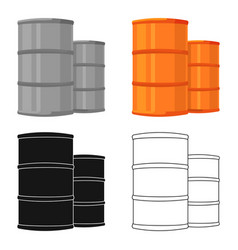 Oil barrels icon in cartoon style isolated on vector