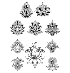 Persian or indian paisley flowers set vector image