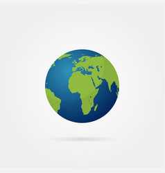planet earth with shadow on a grey background vector image