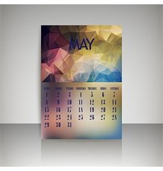 Polygonal 2016 calendar design for MAY vector image