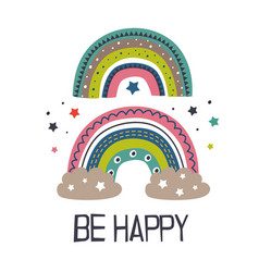 poster with two colorful rainbows vector image