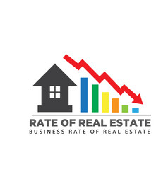 Rate sales down real estate business logo vector