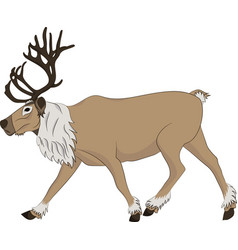 Reindeer running on white background vector
